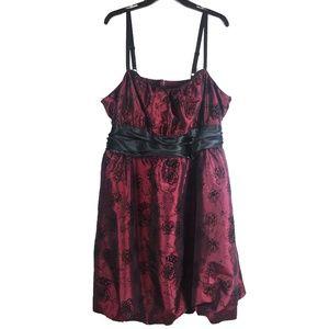 Torrid Dressy Party Dress Burgundy Black Roses 26